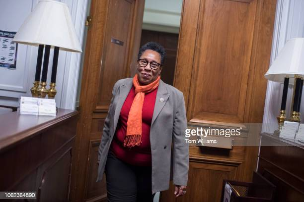 Rep Marcia Fudge DOhio walks into her Rayburn Building office after talking with reporters about her possible run for House speaker on November 16...
