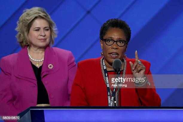 S Rep Marcia Fudge speaks during the opening of the first day of the Democratic National Convention at the Wells Fargo Center July 25 2016 in...