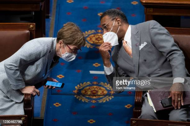 Rep. Marcy Kaptur, D-Ohio, and Rep. Emanuel Cleaver, D-Mo., attend the joint session of Congress to certify the Electoral College votes of 2020...