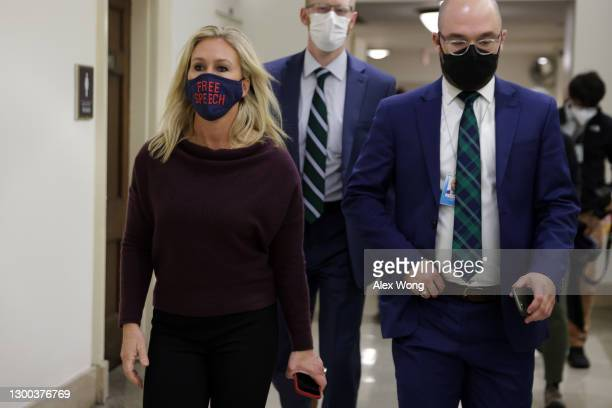 Rep. Marjorie Taylor Greene leaves her office at Longworth House Office Building for a vote in the House chamber February 4, 2021 on Capitol Hill in...