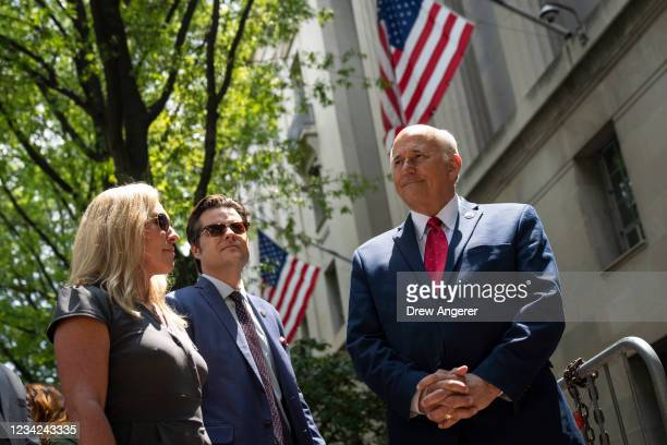 Rep. Marjorie Taylor Greene , Rep. Matt Gaetz and Rep. Louie Gohmert unsuccessfully try to gain entry to the U.S. Department of Justice on July 27,...