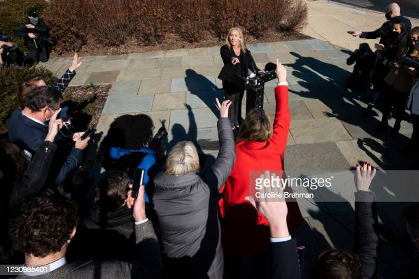 February 5: Rep. Marjorie Taylor Greene, R-Ga., answers questions from reporters during a news conference in Washington on Friday, Feb. 5, 2021. The...