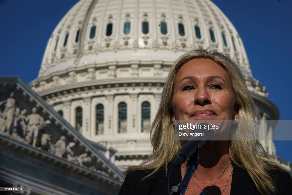 Rep. Majorie Taylor Greene Holds Press Conference After Losing Cmte Positions : News Photo