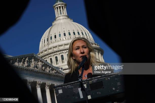 Rep. Marjorie Taylor Greene speaks during a press conference outside the U.S. Capitol on February 5, 2021 in Washington, DC. The House voted 230 to...