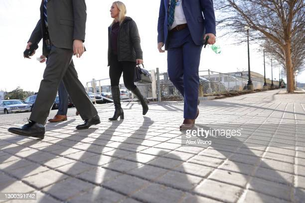 Rep. Marjorie Taylor Greene walks toward the Capitol Hill Club February 4, 2021 on Capitol Hill in Washington, DC. The House is scheduled to vote...