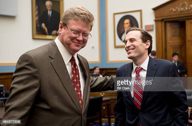 Rep Mark Amodei RNev left speaks with Attorney General of Nevada Adam Laxalt before the start of the House Judiciary Committee hearing on 'The...