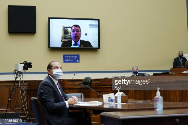 Rep. Mark Green speaks virtually as Secretary of Health and Human Services Alex Azar testifies before the House Select Subcommittee on the...