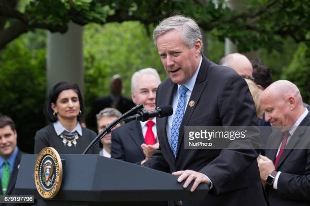 Rep Mark Meadows and chair of the Freedom Caucus speaks at President Trump's press conference with members of the GOP on the passage of legislation...