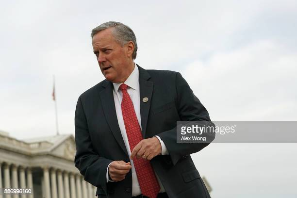 S Rep Mark Meadows arrives at a news conference in front of the Capitol December 6 2017 in Washington DC Rep Matt Gaetz held a news conference to...