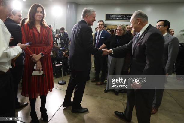 S Rep Mark Meadows greets Senate Minority Leader Sen Chuck Schumer at a media stake out location during a break of the Senate impeachment trial...