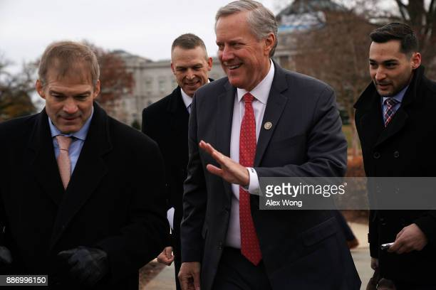 S Rep Mark Meadows leaves with Rep Jim Jordan and Rep Scott Perry after a news conference in front of the Capitol December 6 2017 in Washington DC...