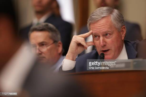 Rep Mark Meadows questions Michael Cohen former attorney and fixer for President Donald Trump as he testifies before the House Oversight Committee on...