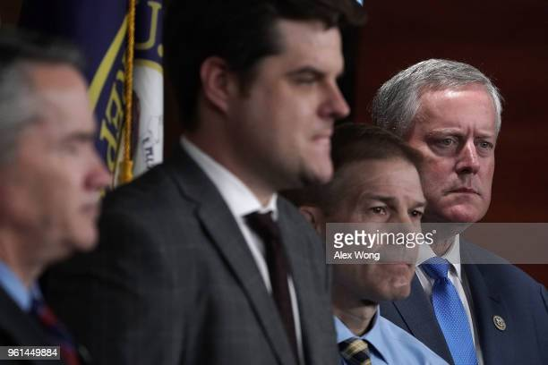 S Rep Mark Meadows Rep Jim Jordan and Rep Matt Gaetz listen during a news conference May 22 2018 on Capitol Hill in Washington DC Rep Zeldin will...
