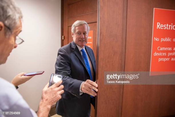 S Rep Mark Meadows returns to a closed session before the House Intelligence Foreign Affairs and Oversight committees October 15 2019 at the US...