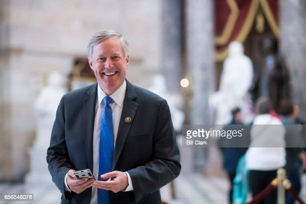 Rep Mark Meadows RNC chairman of the House Freedom Caucus walks through Statuary Hall in the Capitol on Wednesday March 22 2017
