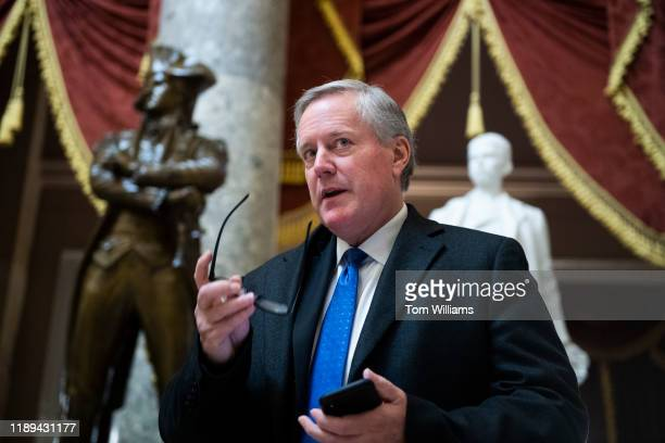 Rep Mark Meadows RNC is seen in the Capitols Statuary Hall during procedural votes related to the articles of impeachment against President Trump on...