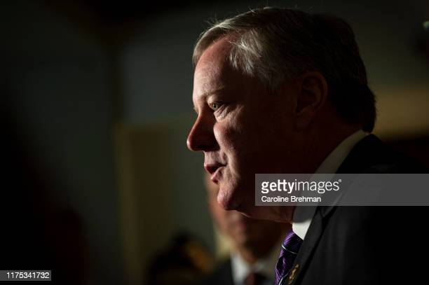 Rep Mark Meadows RNC speaks to reporters in the Capitol after learning the State Department had blocked Ambassador Gordon Sondland from testifying to...
