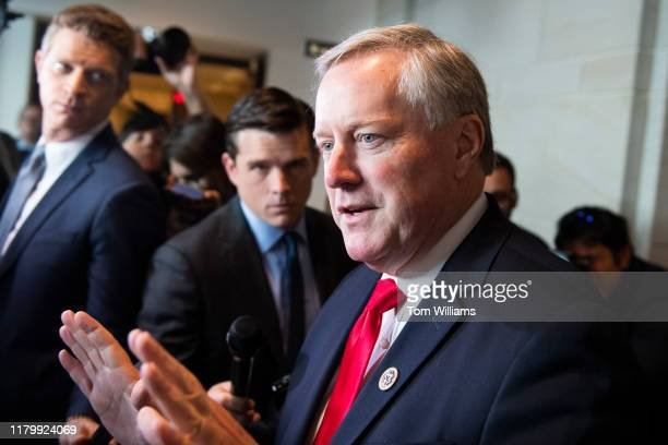 Rep Mark Meadows RNC speaks to reporters outside a scheduled deposition related to the House's impeachment inquiry in the Capitol Visitor Center on...