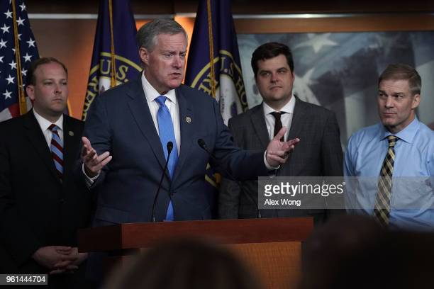 S Rep Mark Meadows speaks as Rep Lee Zeldin Rep Matt Gaetz and Rep Jim Jordan listen during a news conference May 22 2018 on Capitol Hill in...