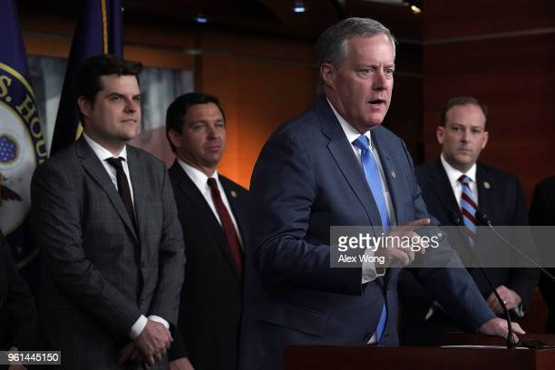 S Rep Mark Meadows speaks as Rep Matt Gaetz Rep Ron DeSantis and Rep Lee Zeldin listen during a news conference May 22 2018 on Capitol Hill in...