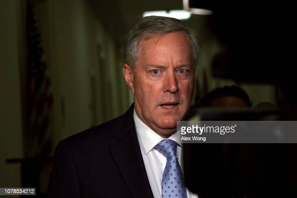 S Rep Mark Meadows speaks to members of the media as he arrives at the Rayburn House Office Building where former Federal Bureau of Investigation...