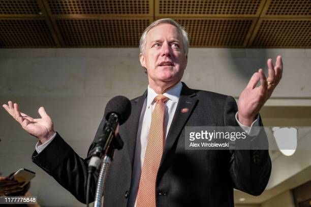 Rep Mark Meadows speaks to members of the media following a closed session on Capitol Hill on October 23 2019 in Washington DC Deputy Assistant...