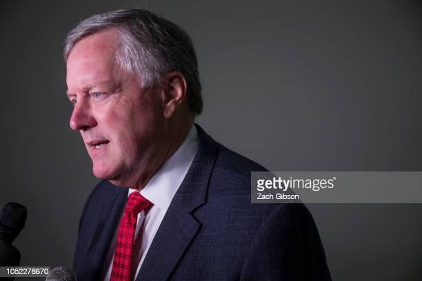 Rep Mark Meadows speaks to members of the press before a meeting between CoFounder of Fusion GPS Glenn Simpson and members of the House Judiciary and...