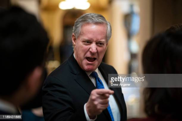Rep. Mark Meadows speaks to reporters in Statuary Hall at the U.S. Capitol as debate on the articles of impeachment against President Trump continues...