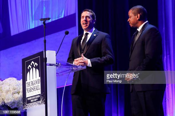 Rep Mark Walker and Justin Fairfax Lt Governor of Virginia present the Educational Leadership Award during the Thurgood Marshall College Fund 31st...