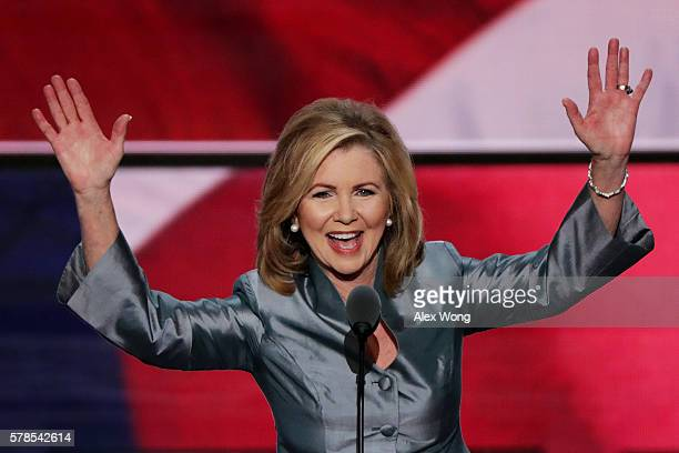 Rep Marsha Blackburn delivers a speech during the evening session on the fourth day of the Republican National Convention on July 21 2016 at the...