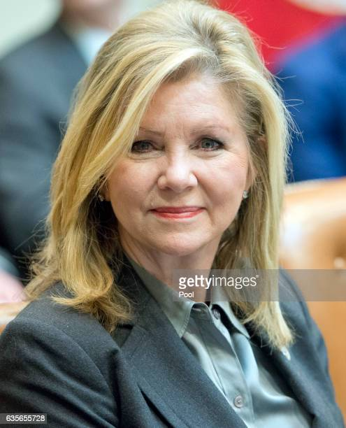 Rep Marsha Blackburn listens as President Donald Trump participates in a congressional listening session with GOP members in the Roosevelt Room of...