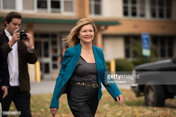 S Rep Marsha Blackburn Republican candidate for US Senate exits the Williamson County Clerk's office after she cast her ballot during early voting...