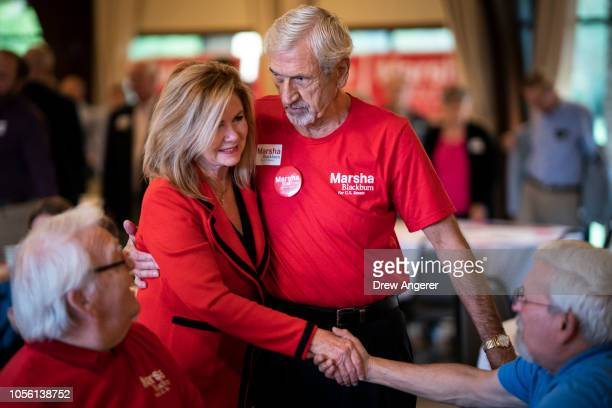 S Rep Marsha Blackburn Republican candidate for US Senate greets supporters during a getoutthevote rally at Henry Horton State Park November 1 2018...