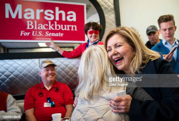 S Rep Marsha Blackburn Republican candidate for US Senate greets supporters during a volunteer thank you breakfast at Fox's Donut Den November 3 2018...