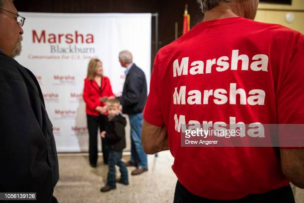 S Rep Marsha Blackburn Republican candidate for US Senate mingles with supporters after a getoutthevote rally at Henry Horton State Park November 1...