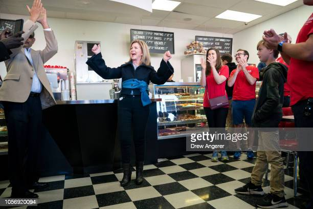 S Rep Marsha Blackburn Republican candidate for US Senate talks to supporters during a volunteer thank you breakfast at Fox's Donut Den November 3...