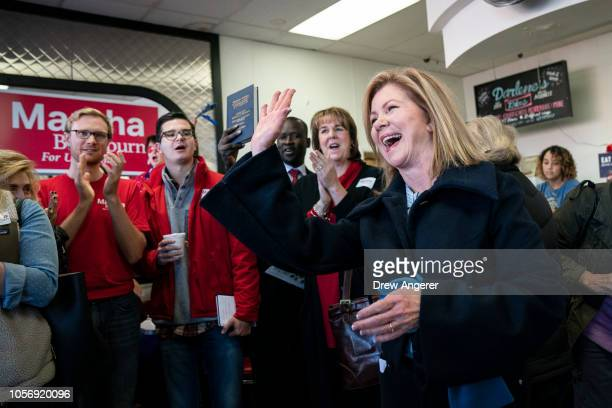 S Rep Marsha Blackburn Republican candidate for US Senate waves to supporters during a volunteer thank you breakfast at Fox's Donut Den November 3...