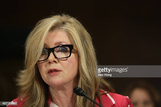 S Rep Marsha Blackburn testifies during a hearing before the Senate Judiciary Committee July 15 2014 on Capitol Hill in Washington DC The hearing was...