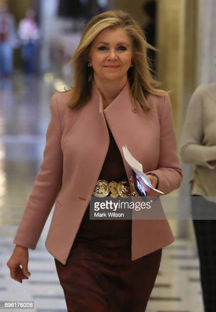 Rep Marsha Blackburn walks away after the tax reform vote at the US Capitol on December 20 2017 in Washington DC The House of Representatives voted...