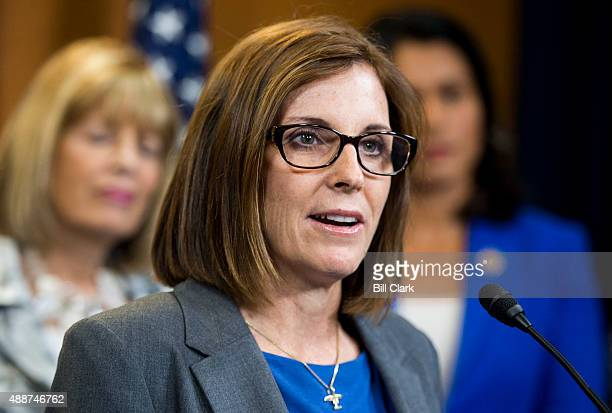 Rep Martha McSally RAriz holds a news conference with female members of the House Armed Services Committee in the US Capitol on Thursday Sept 17 on a...
