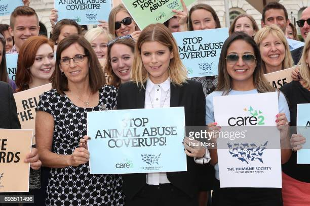 Rep Martha McSally RAZ and Kate Mara join The Humane Society of the United States' rally at USDA on June 7 2017 in Washington DC Advocates rallied to...