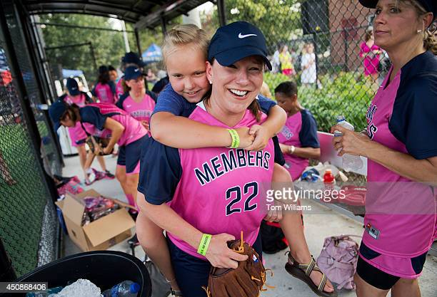 Rep Martha Roby RAla and her daughter Margaret hang out in the dugout before the Congressional Women's Softball game that pits Congresswomen against...