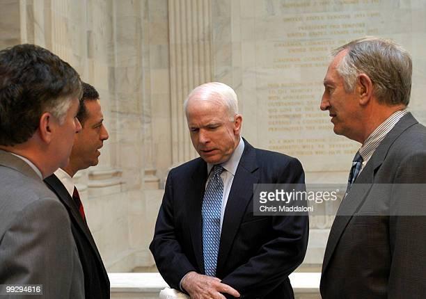 Rep Martin Meehan DMass Sen Russel Feingold DWisc Sen John McCain RAz and Sen Jim Jeffords IVt speak before a press conference about the latest...