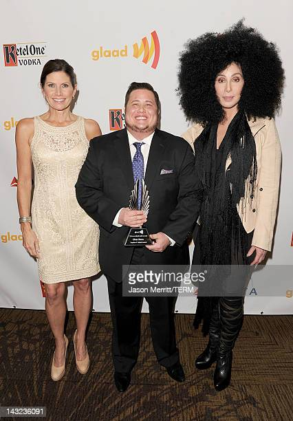 Rep Mary Bono Mack Chaz Bono and Cher backstage at the 23rd Annual GLAAD Media Awards presented by Ketel One and Wells Fargo held at Westin...