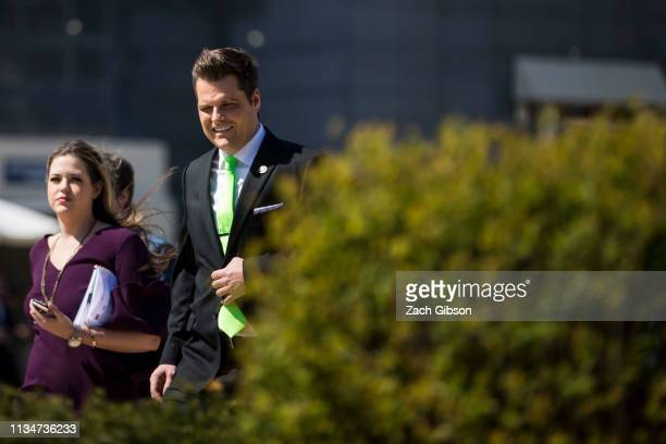 Rep Matt Gaetz arrives to speak at a news conference to announce the Green Real Deal on April 3 2019 in Washington DC The Green Real Deal is a...
