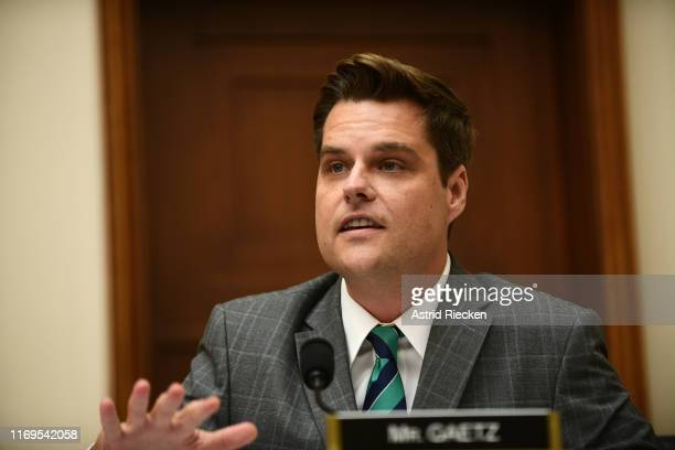 Rep Matt Gaetz asks Rev Al Sharpton questions during a House Judiciary Committee hearing on policing practices in the United States on September 19...