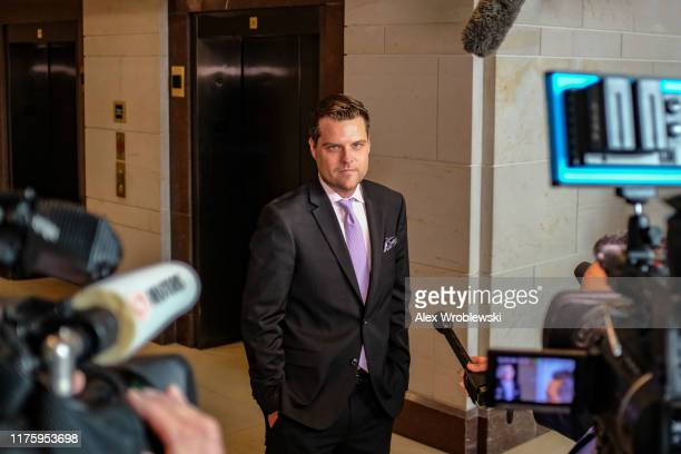 S Rep Matt Gaetz pauses while speaking to members of the media on Capitol Hill on October 14 2019 in Washington DC Fiona Hill former Special...