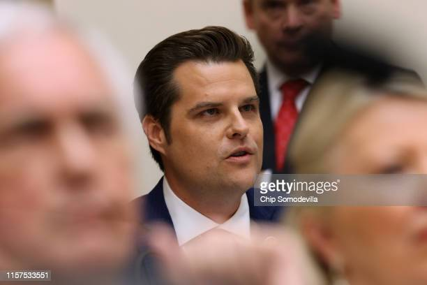 Rep Matt Gaetz questions former Special Counsel Robert Mueller as he testifies before the House Judiciary Committee about his report on Russian...