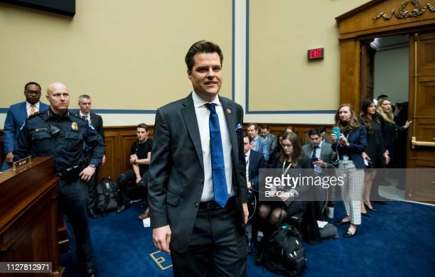 Rep Matt Gaetz RFla arrives to observe Michael Cohen former attorney for President Donald Trump testifying during the House Oversight and Reform...