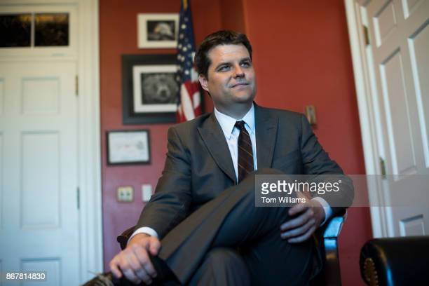 Rep Matt Gaetz RFla is interviewed in his Cannon Building office on October 26 2017